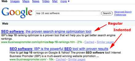 Google indented listingexample screen shot
