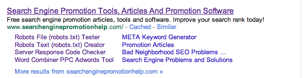 Google sitelinks for searchenginepromotionhelp.com